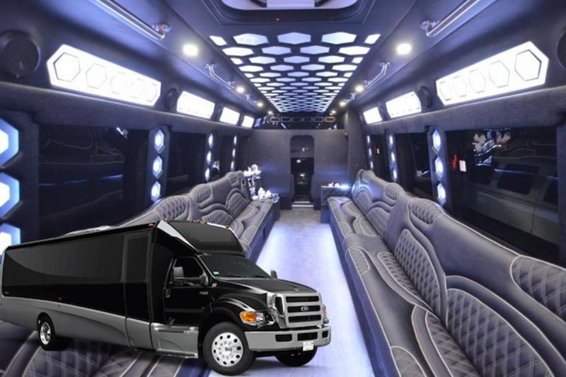 Party bus with a restroom